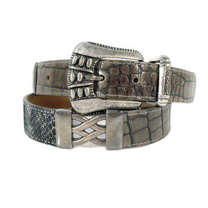 STREETS AHEAD LA $189 Metallic Pewter Reptile Belt